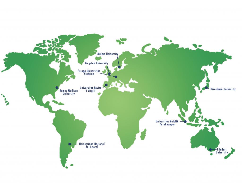 Map of the International Network of Universities (INU)