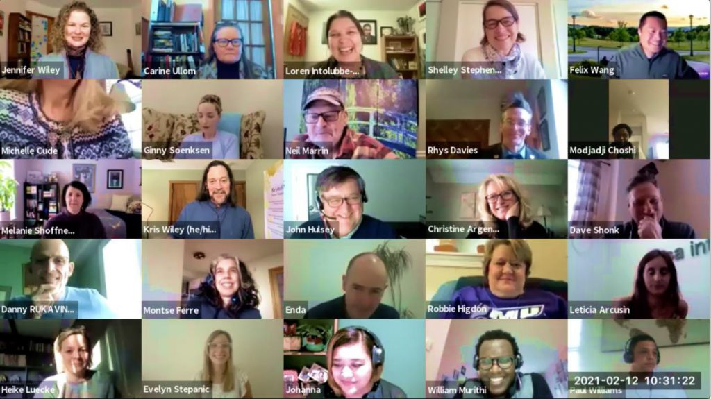 Faculty staff from across INU members in an online call